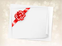 Christmas holiday background with gift bow and rib Stock Photography