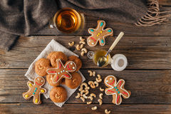 Free Christmas Holiday Background.Gingerbread Man Stock Images - 81234894