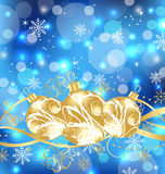 Christmas holiday background with golden balls Royalty Free Stock Photo