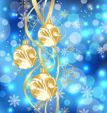 Christmas holiday background with golden balls Royalty Free Stock Image
