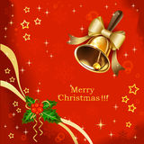 Christmas holiday background with golden bell Royalty Free Stock Image