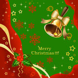 Christmas holiday background with golden bells Royalty Free Stock Photography