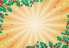 Christmas holiday background with holly leaves and berries, ready for your design Stock Photos