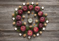 Christmas holiday background with homemade cookies, red apples, stock image