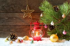 Christmas holiday background with a house in the snow, Christmas Royalty Free Stock Photos