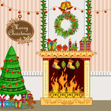 Christmas holiday background. Illustration of decorated house with fireplace for Christmas holiday background Stock Photography