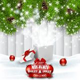Christmas holiday background with magic gift box stock image