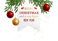Christmas holiday background. Merry Christmas and a very happy new year, holiday background with fir branches, gold and red balls Royalty Free Stock Image