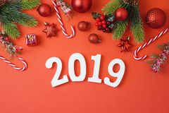 Christmas holiday background with 2019 new year, decorations and stock photo