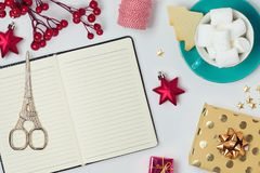 Christmas holiday background with notebook Stock Photo