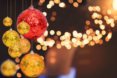 Christmas holiday background over winter bokeh Stock Photos