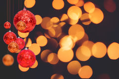 Christmas holiday background over winter bokeh Stock Photo