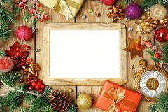 Christmas holiday background with photo frame, decorations and o royalty free stock photos