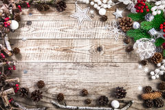 Christmas holiday background with pinecone balls greeting Royalty Free Stock Photography