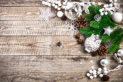 Christmas holiday background with pinecone balls greeting Stock Image