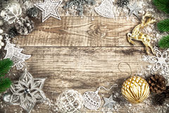 Christmas holiday background with pinecone balls greeting Stock Photography