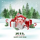Christmas holiday background with presents and cute pig. Vector royalty free stock image