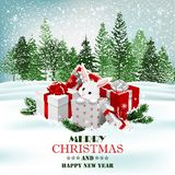 Christmas holiday background with presents and cute white rabbit. Vector royalty free stock photography