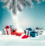 Christmas holiday background with presents and magic box. Stock Photography