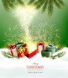 Christmas holiday background with presents and magic box. Royalty Free Stock Image