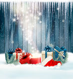 Christmas holiday background with presents and magic box. Stock Image