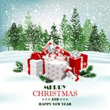 Christmas holiday background with presents and magic gift box. Vector stock images