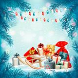 Christmas holiday background with presents on a sleigh. And garland. Vector illustration Stock Photo