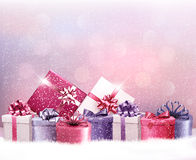 Christmas holiday background with presents. Royalty Free Stock Image