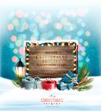 Christmas holiday background with presents and wooden sign. Vector stock illustration