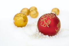 Christmas Holiday Background with Red Bauble, Deco Stock Photo