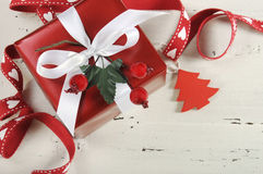 Christmas Holiday background with red and white theme gift Royalty Free Stock Photo
