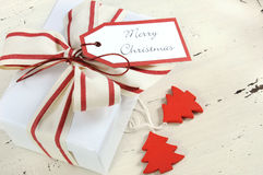 Christmas Holiday background with red and white theme white gift box Stock Photography