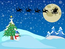 Santa across the snow night Stock Images