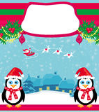 Christmas holiday background with santa claus , cute penguins Royalty Free Stock Photos