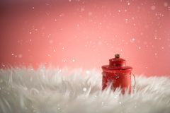 Christmas holiday background with Santa and decorations. Christmas landscape with gifts and snow. Merry christmas and happy new ye royalty free stock image