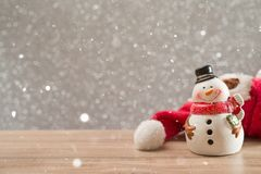 Christmas holiday background with Santa and decorations. Christmas landscape with gifts and snow. Merry christmas and happy new ye stock images