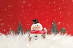 Christmas holiday background with Santa and decorations. Christmas landscape with gifts and snow. Merry christmas and happy new ye royalty free stock images