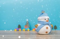 Christmas holiday background with Santa and decorations. Christmas landscape with gifts and snow. Merry christmas and happy new ye royalty free stock photography