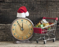 Christmas holiday background with Santa hat and decorations. Stock Images
