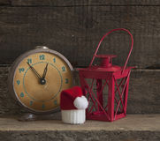 Christmas holiday background with Santa hat and decorations. Stock Photography