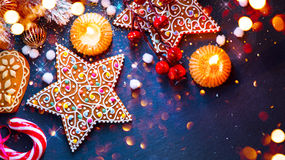 Christmas holiday background. Served table with decorations Royalty Free Stock Image