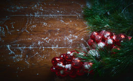 Christmas holiday background with snow and balls. Plenty of copy space. Stock Photo