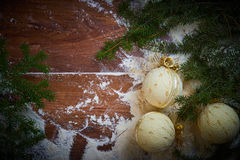 Christmas holiday background with snow and balls. Plenty of copy space. Stock Images