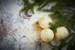 Christmas holiday background with snow and balls. Plenty of copy space. Royalty Free Stock Image