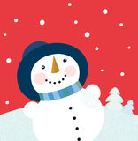 Christmas holiday background with snowman. Cute snowman on red background. Vector cartoon illustration Stock Photo