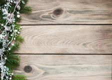 Christmas holiday background. Tree  and decoration on a wooden table Royalty Free Stock Photo