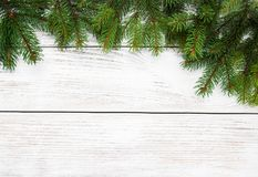Christmas holiday background. Tree  on a wooden table Stock Photo