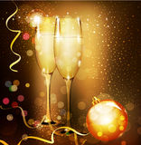 Christmas holiday background with two glasses of c Stock Images