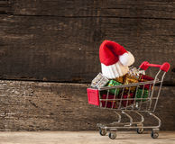 Christmas Holiday Background With Santa Hat And Decorations. Stock Image