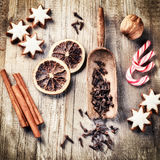 Christmas holiday baking setting with gingerbread cookies. And spices royalty free stock photography